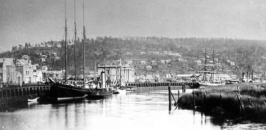 wharves, wharf, sailing ships, launceston, tasmania