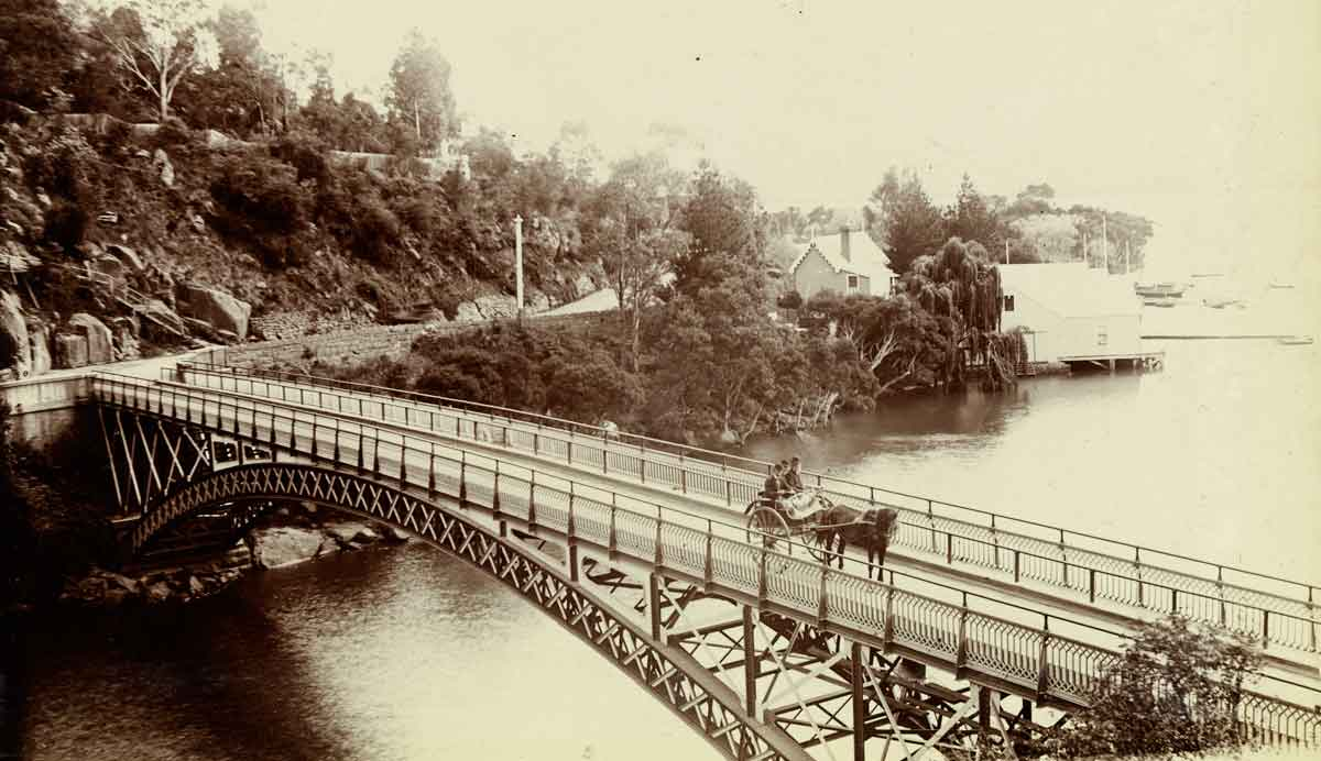 cataract bridge, launceston, van diemans land, tasmania
