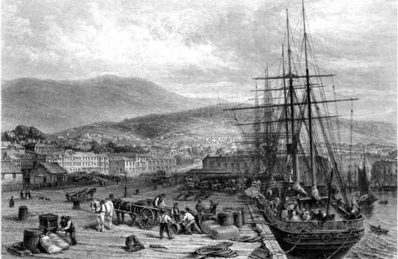 wharf, quay, hobart town, van diemans land, hobart, tasmania